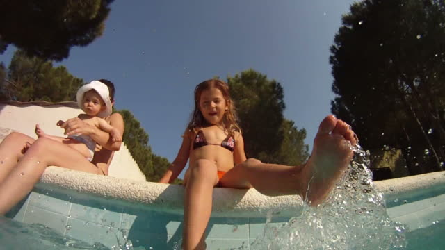 Girl splashing her feet in swimming pool video