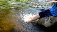 girl spray legs water video
