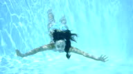 Girl swimming underwater in a swimming pool video