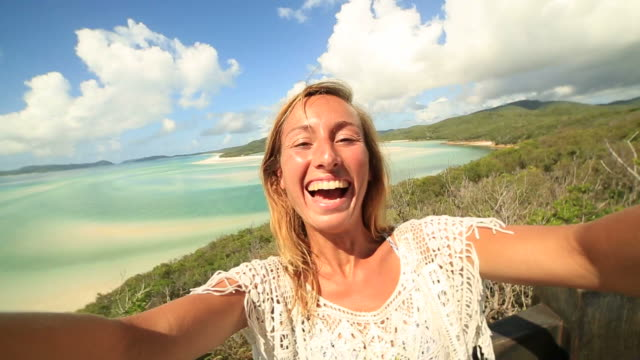 Girl takes selfie portrait at the Whitsunday Islands video