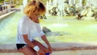 Girl Tying Shoelaces in Her Roller Skates video