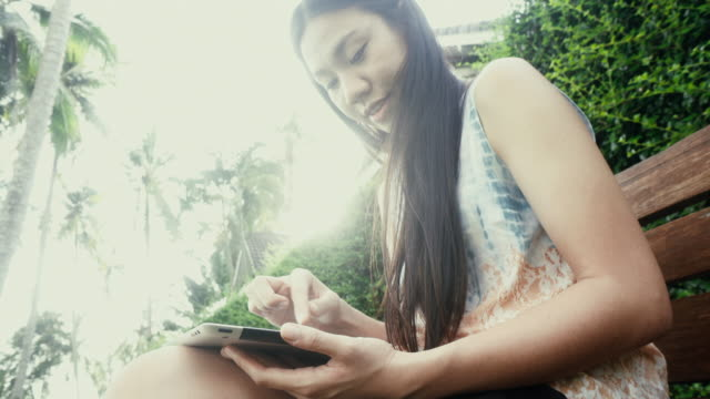 Girl using digital tablet video
