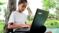 Girl Using laptop computer,Dolly shot video