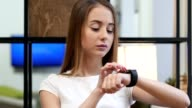 Girl Using Smartwatch, Online Browsing video