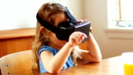 Girl using virtual reality headset video