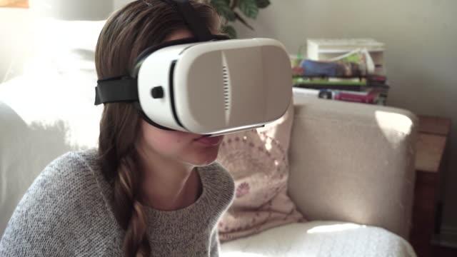Girl Using Virtual Reality video
