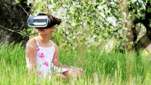 Girl Using VR Helmet With Head Mount Display video