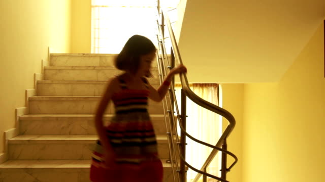 Girl walking down the stairs video
