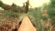 Girl walks on railway tracks video