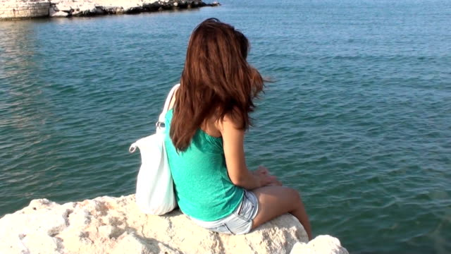 Girl watches the sea video