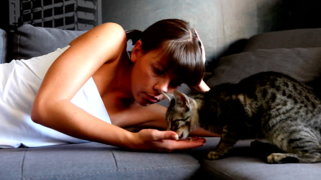Girl with a cat (HD) video