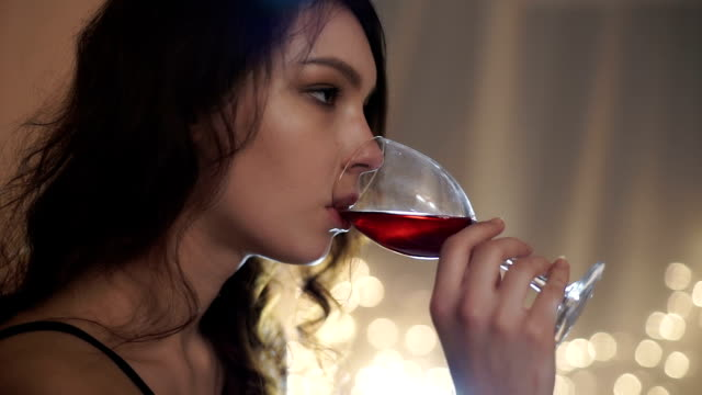 Girl with a glass of wine video