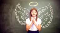 girl with an angel wings video