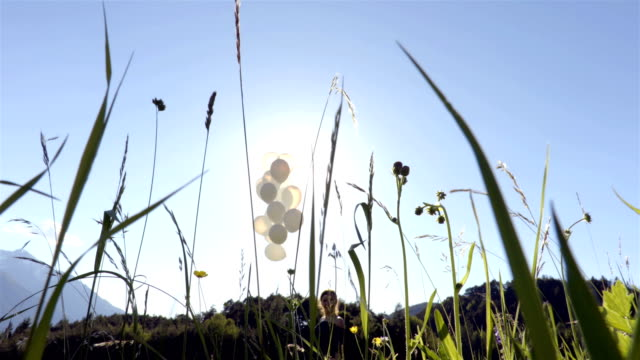 Girl with balloons in the field video