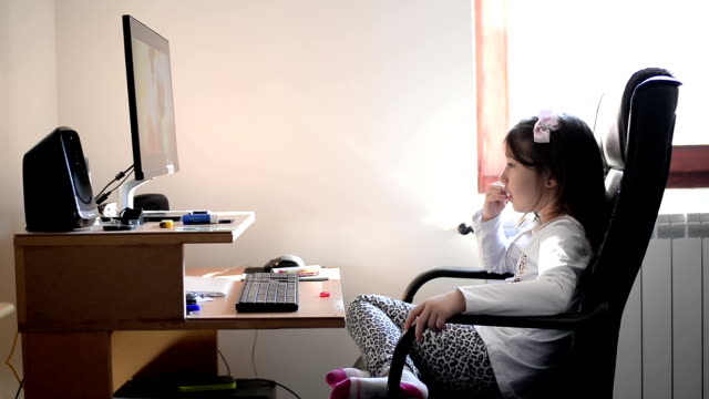 Girl with computer video