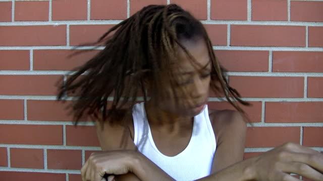 Girl with dreadlocks. video