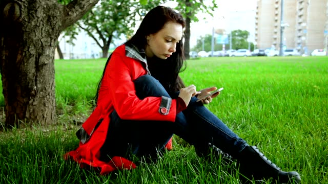 Girl With Phone in the Park video