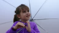 Girl with umbrella in a rainy day video