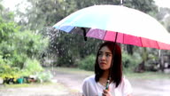 Girl with umbrella in the rain. video