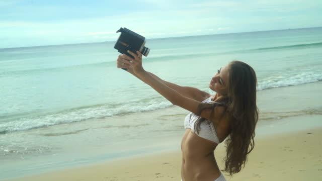 Girl With Vintage Retro Camera video