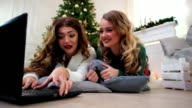 girlfriend using laptop, printed text to communicate via the Internet, winter time of year, the Christmas holidays in a cozy atmosphere near the fireplace video