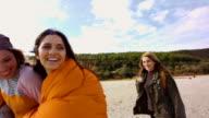 Girlfriends on the beach 4K video