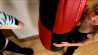 Girls boxing training in the gym video