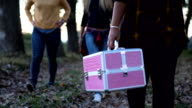 Girls carry a suitcase with makeup video