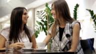 Girls enjoying in a coffee shop video
