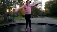girls having fun on the trampoline video