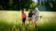 3 Girls Lift Up Their Sister In A Field, Candid Moment Of Girls Goofing Around video