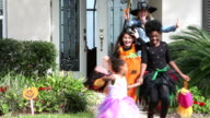 Girls on halloween surprised by witch video