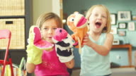 Girls play with animal toys video