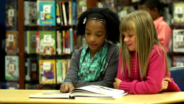 Girls reading in the library video