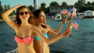 Girls resting on the sea. American girls. video