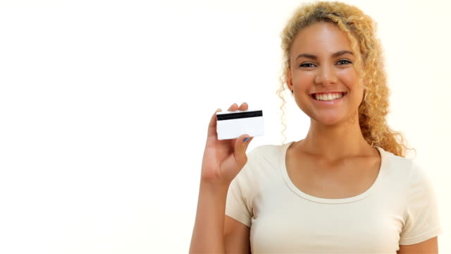 Mulatto girls showing thumbs-up with credit card video