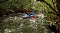 Girls swimming in the kayak on the forest river video