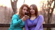 Girls Taking Selfie Mobile Phone video