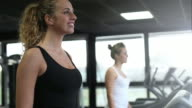Girls walking on treadmill video