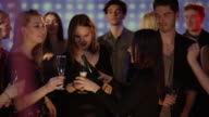 Girls with champagne on dancefloor video