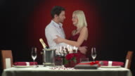 HD: Glamour Couple Kissing At Dinner Table video