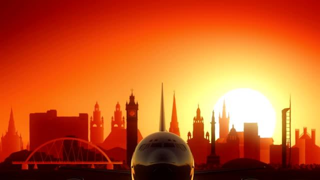 Glasgow Airplane Take Off Skyline Golden Background video