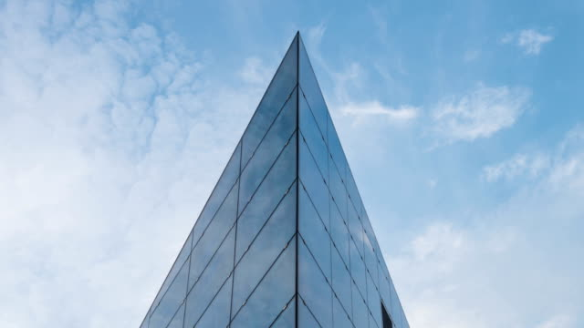 Glass building refraction, time lapse video
