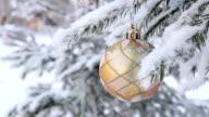 Glass Christmas balls on spruce video