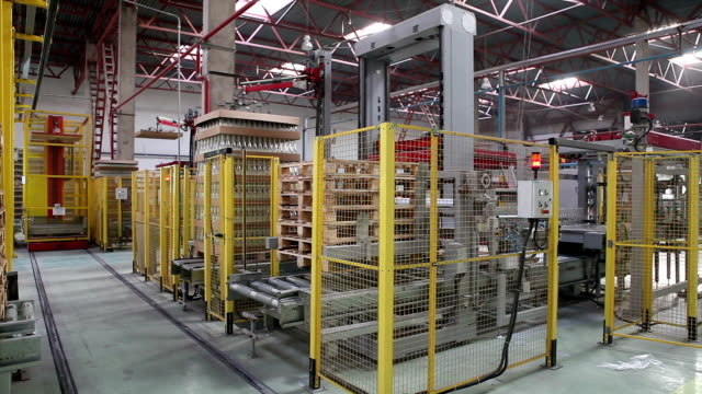 Glass factory. General view of bottle packing machine. video