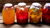 Glass jars with preservation in the cellar. video