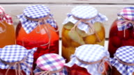 Glass jars with preservation. video