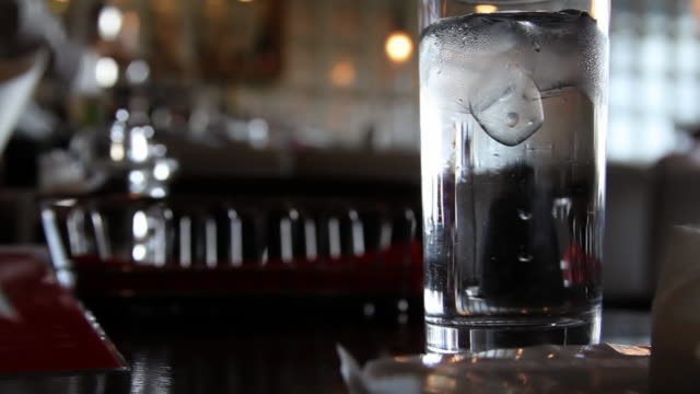 Glass of Ice Water in Japanese restaurant video