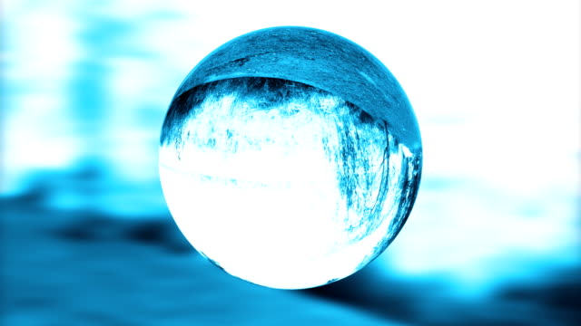 Glass orb or dew,environmental conservation, looping video