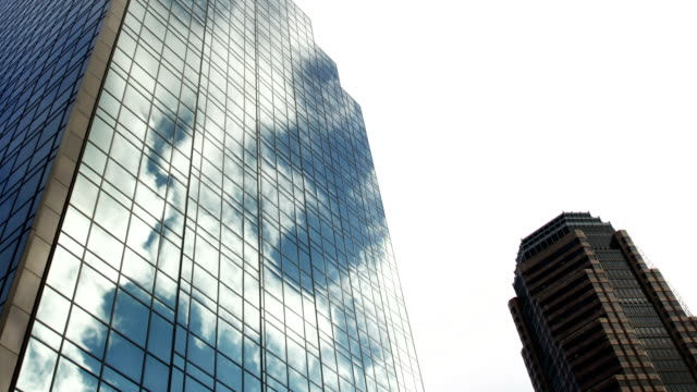 Glass Tower Reflecting Clouds video